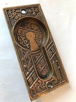Old Art Craft Eastlake Victorian Cast Brass Bronze Pocket Barn Door Pull Plate