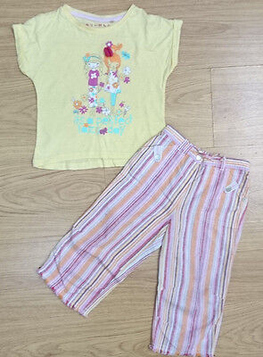 Next Nutmeg Girls Outfit Bundle Age 3-4 Years Yellow Floral Top Trouser