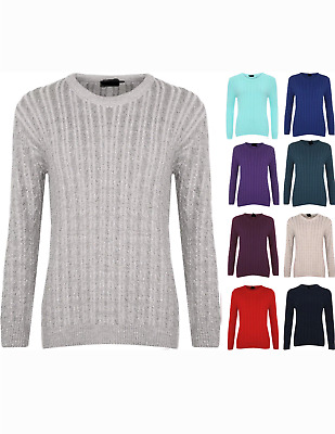 Ladies Women Knitted Crew Neck Long Sleeve Cable Knit Jumper Chunky Sweater top.