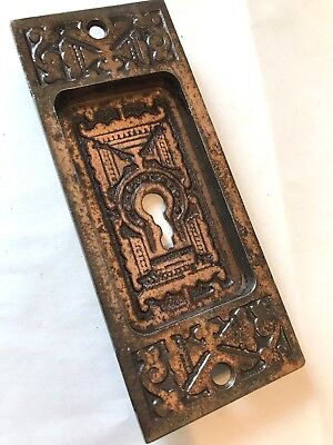 Antique Art Craft Eastlake Victorian Brass Plate Cast Iron Pocket Barn Door Pull