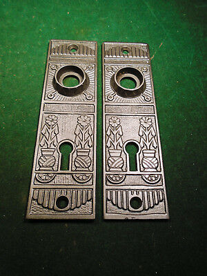 "BEAUTIFUL PAIR of EASTLAKE CAST STEEL BACKPLATES 5"" (9201)"