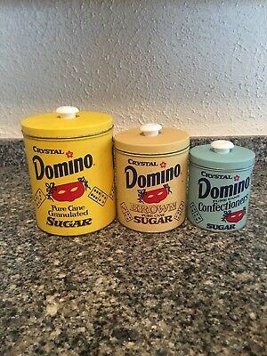 VINTAGE 1970s DOMINO SUGAR TIN METAL CANISTER (SET OF THREE)