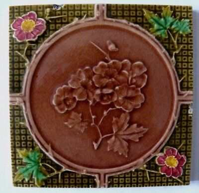 Antique Victorian Majolica Aesthetic Floral Spray Red & Yellow Flower Tile