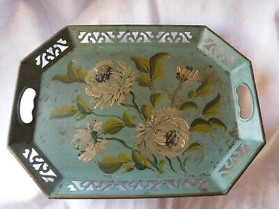 TRAY METAL COTTAGE TOLE TOLEWARE FLORAL FLOWERS GREEN RECTANGLE 18x13 VINTAGE