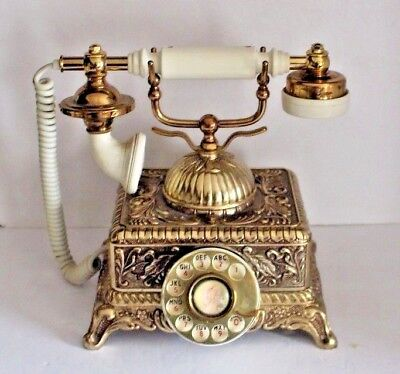 Vintage Rotary French Gold Art Deco Telephone By United States Telephone Co.