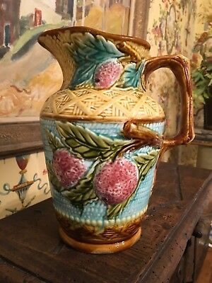 French Majolica Pitcher Jug Strawberries Basketweave Provence