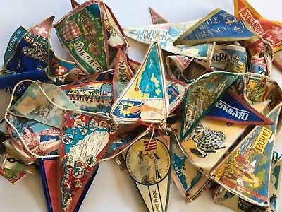 57 European Souvenir Flags on Rope String mostly French Vintage