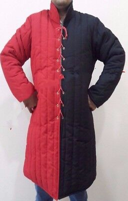 Medieval thick padded Red & Black Gambeson coat Aketon Jacket Armor reenactment