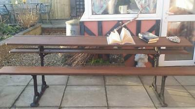 Vintage School Bench/Desk Oak and Cast iron work With Unusual Bearded Man face