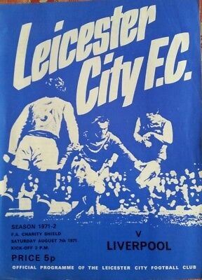 Leicester City v Liverpool Charity Shield 1971/1972 Football Programme