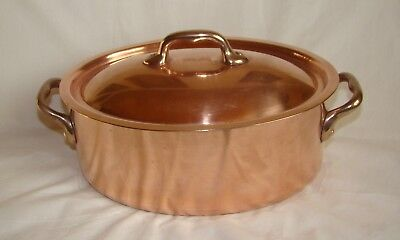 Antique French copper/brass OVAL MARMIT with LID 1900 stamped MADE IN FRANCE