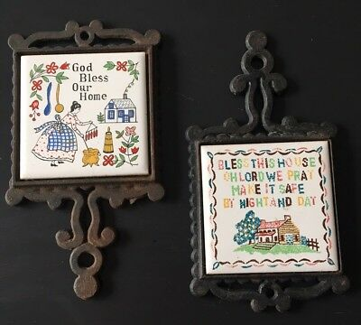 Lot of 2 Vtg Ceramic Tile cast iron trivets Wall Hot Plates