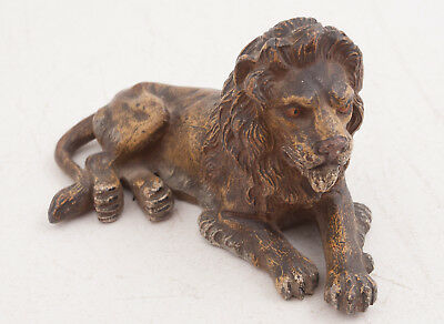 "Vintage Cast Metal Lion Figurine 5.5"" (H4L) Original Paint"