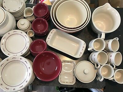 MASSIVE LOT Longaberger Pottery Woven Red--Place Settings Soup Tureen USA Made