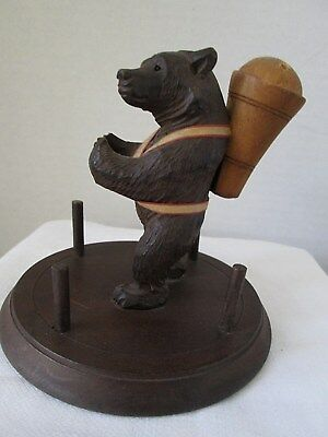 Antique Black Forest German Hand Carved Bear Figurine Pin Cusion Spool Holder