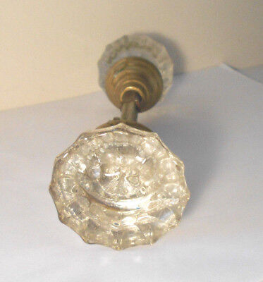 vintage antique FLUTED GLASS & BRASS DOOR KNOB SET