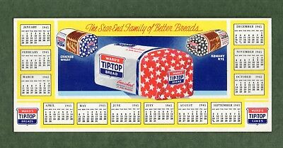 "WARD'S TIP-TOP BREAD Ink Blotter w/1945 Calendar - 3¾""x8½"", 3 Loaves, NM Cond"