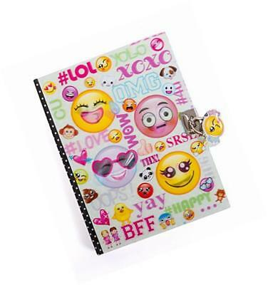 "emoji secret diary with lock – 7"" journal notebook with 300 double sided lined"