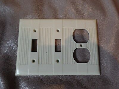 Vintage Tuxedo Double Switch outlet cover Ivory Ribbed Ivory Color Eagle USA