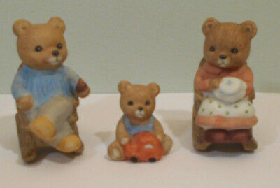 Miniature HOMCO Teddy BEAR FAMILY vtg porcelain Figurine statue set #1470