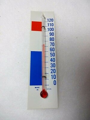 """One 4 Inch Glass Thermometer With 1 1/4 """" X 4 3/4 """" Red-White-Blue Backing Scale"""