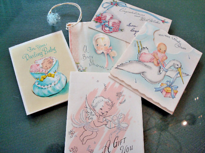 """Vintage """"For Your Baby Shower"""" Gift Cards - Retro Baby Ephemera - Circa 1950's"""
