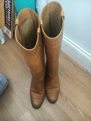Vintage Leather Tall Riding Boots Zip Cognac Womens size 6.5N Similair to FRYE