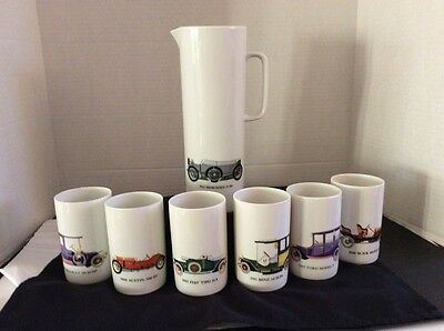 Vtg Complete Thomas Germany Car Porcelain Pitcher w/6 Tumblers Beakers Germany