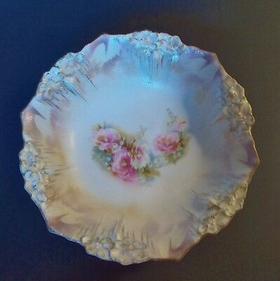 Antique Rs Prussia Three Footed Bowl, Icicle Mold,red Star Wreath Mark 1870-1918