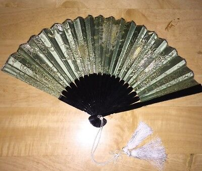 Antique Embroidered Silk Ornate Japanese Fan ***Exquisite***