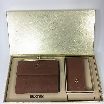 Buxton Vintage Brown Gold Top Grain Cowhide Wallet and Key-Tainer Set New in Box