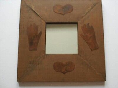 """Primitive Rustic Farmhouse Wood Framed Mirror With Rusty Metal Accents 14"""""""
