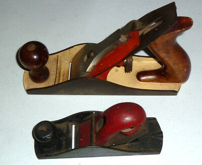 (Lot of 2) Old Vintage 1940s Stanley Two Tone Bench Plane - Made in U.S.A.