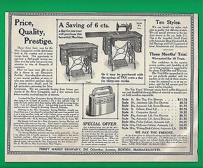 1908 AD ~ THE NEW COMPANION SEWING MACHINES ~ TEN STYLES ~ 6 Cents A DAY