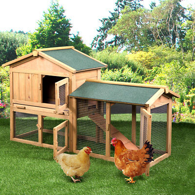 """58"""" Small Animal House Pet Cage Wood Wooden Chicken Coop Rabbit Hutch"""