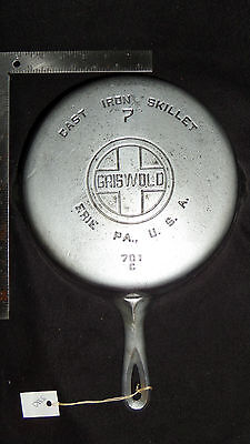 Vintage #7 Griswold Plated Cast Iron Skillet 701 Pan ((3330))