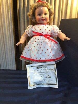 """Shirley Temple Limited Ed Bright Eyes 17"""" Doll-White/Red Polka Dots COA Horsman"""