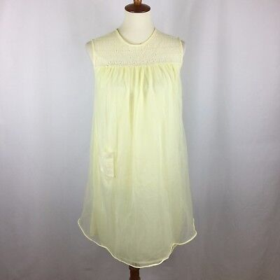 """Vintage 1950s Butter Yellow Chiffon Babydoll Size Medium 36"""" Floral Embroidery"""