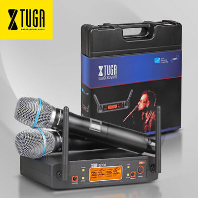 UHF Wireless Microphone System 2 Cordless Handheld Mics Karaoke system with case