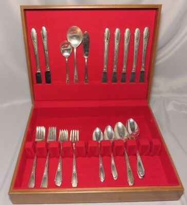 Vintage Set of William Rogers & Sons 1941 GARDENIA Silver-Plate Flatware