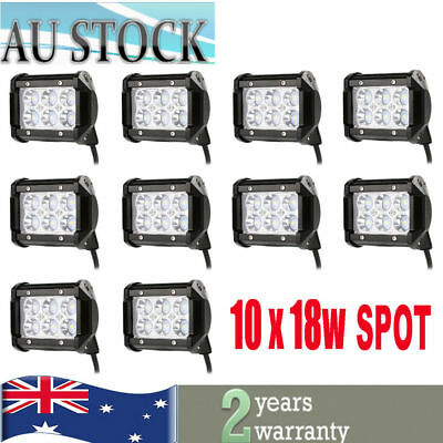 10X 4INCH 18W Cree LED Work Light Bar For Offroad Spot Fog ATV SUV Driving Lamp