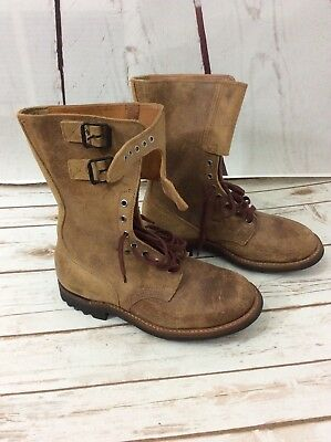 Vintage French RANGER MILITARY Double Buckle MEN Brown Leather BOOT 8.5 D