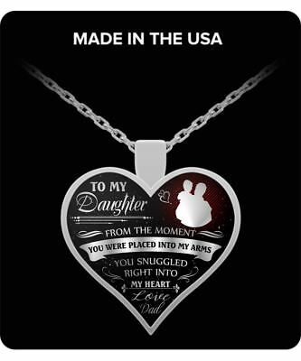 To my daughter love dad you snuggled right into my heart silver pendant necklace