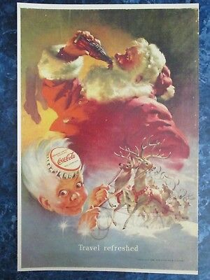 "Vintage Coca Cola 1949 Christmas  Ad Store Sign ""SANTA LANDING W THE REINDEER"""