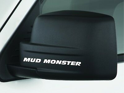2 Mud Monster Rear Mirror Decal Racing DODGE FORD Truck 4x4 Door Handle Sticker