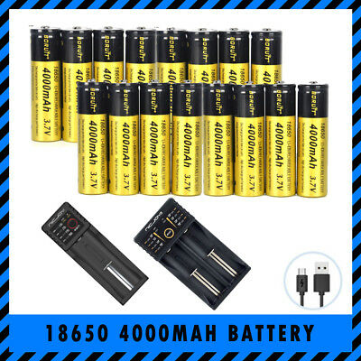 Bulk 18650 BORUIT 3.7V 4000mAh Rechargeable Lithium Battery Optional USB Charger