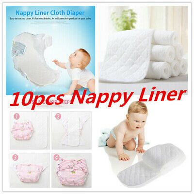 10Pcs Cloth Cotton Baby Insert Nappy Liners 3/6 Layers Diapers Reusable Washable