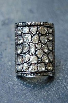 New Vintage/Antique Handmade Rose Cut/Polky Diamond 925 Silver Square Ring @CSJ