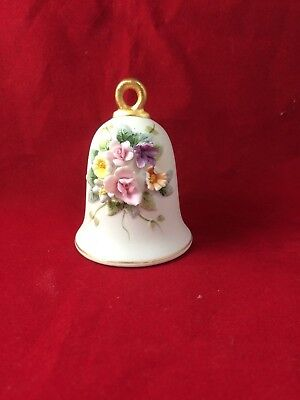 """Vintage Lefton China Floral Bell with Heart Clapper Hand Painted KW 4199 3"""""""