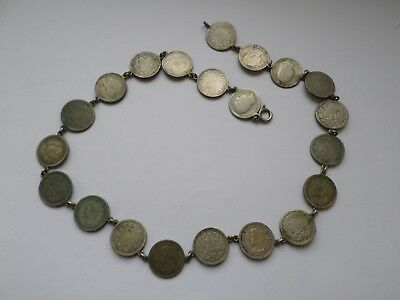 Vintage coin necklace early 20th century Dutch Netherlands 10 cent coins